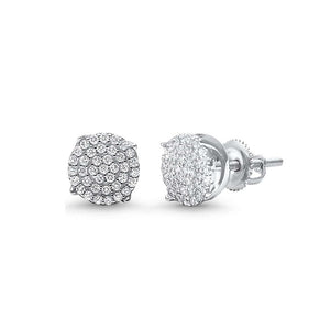 6mm Round Micro Paved Screw Back Sterling Silver Earrings