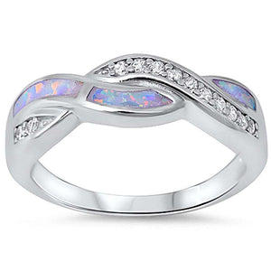 Opal & Simulated Diamond Twisted Weave Sterling Silver Ring
