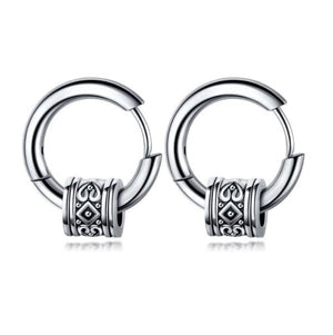 Antique Cylinder Titanium Huggie Earrings