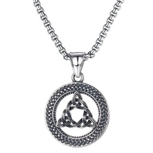 Circular Enclosed Trinity Knot Titanium Steel Necklace