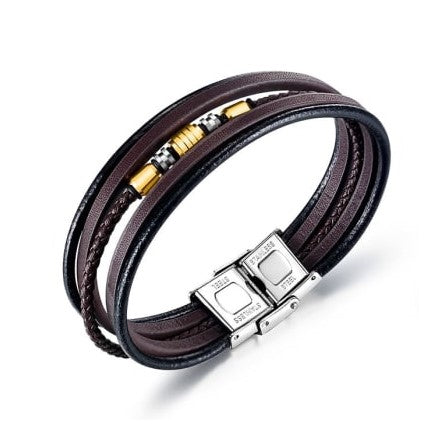 Multi-colored Charms & Cord Leather Bracelet with Stainless Steel Clasp