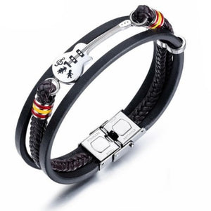 Spanish Guitar Multi-Cord Leather Bracelet with Stainless Steel Clasp