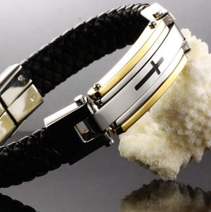 Stainless Steel Cross Leather Woven Bracelet