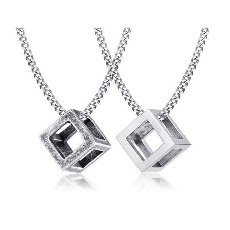 Hollow Cube Stainless Steel Necklace