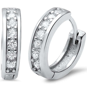 Round Cubic Zirconia Huggie Sterling Silver Earrings