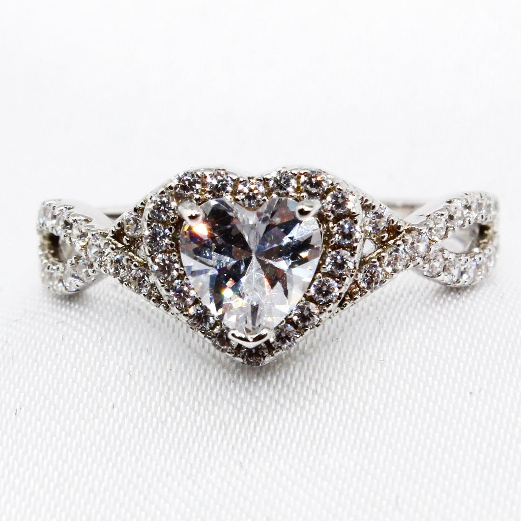 Heart Halo with Paved Infinity CZ Sterling Silver Ring