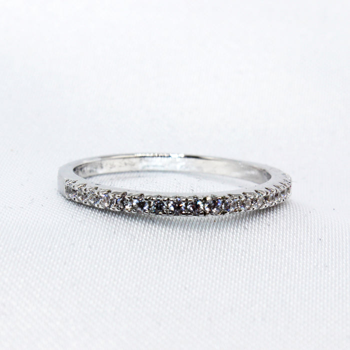 Micro Paved Half Infinity CZ Sterling Silver Band