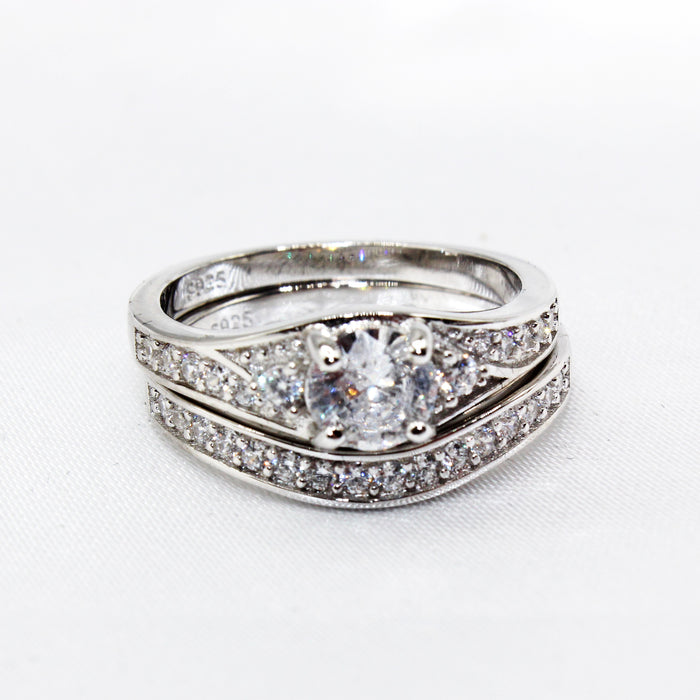 Round Prong Setting with Traditional Paved Unique Band CZ Duo Set Sterling Silver Ring