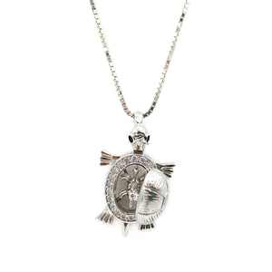 Movable Mother & Baby Turtle Locket Sterling Silver Necklace