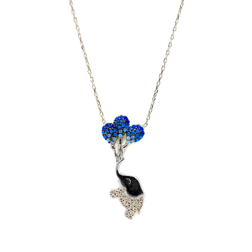 CZ Flying Elephant Sterling Silver Necklace