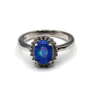 Radiant Simulated Diamond Opal Sterling Silver Ring