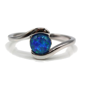 Radiant Round Opal Wave Sterling Silver 925 Ring