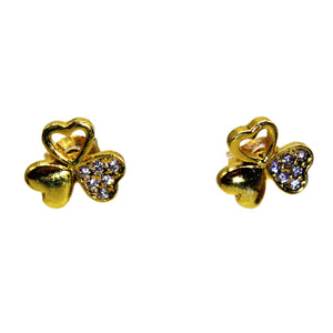3-Leaf Clover Cubic Zirconia Sterling Silver Earrings