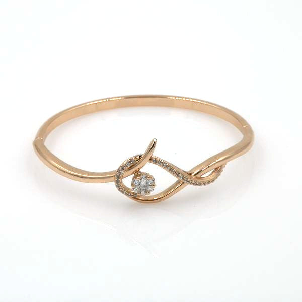 Rose Gold Cubic Zirconia Floral Bangle
