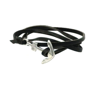 Anchor Wrap Leather Bracelet