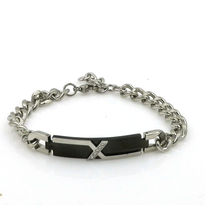 Stainless Steel Cubic Zirconia Tag Bracelet