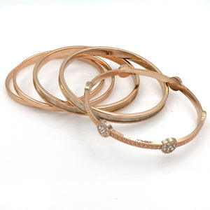 Set of 5, Crystal, Stone, Rose Gold Plated Bangle