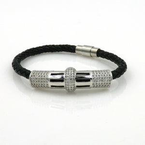 Rhodium CZ Centerpiece Braided Leather Bracelet