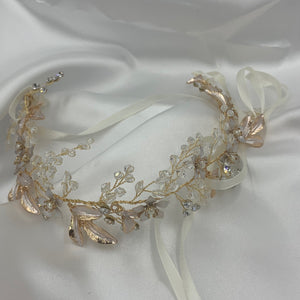Crystal Vintage Gold Leaf Floral Bridal Hairband