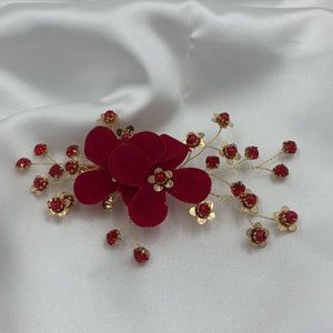 Red Crystal Flower Pearl Hair Clip