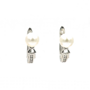 Rhodium Pearl Leverback Earrings