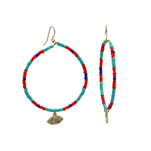 Multi-color Small Beads with Evil Eye Hoop Earrings