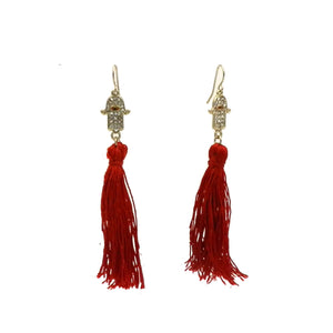 Pewter Hamsa Tassel Earrings