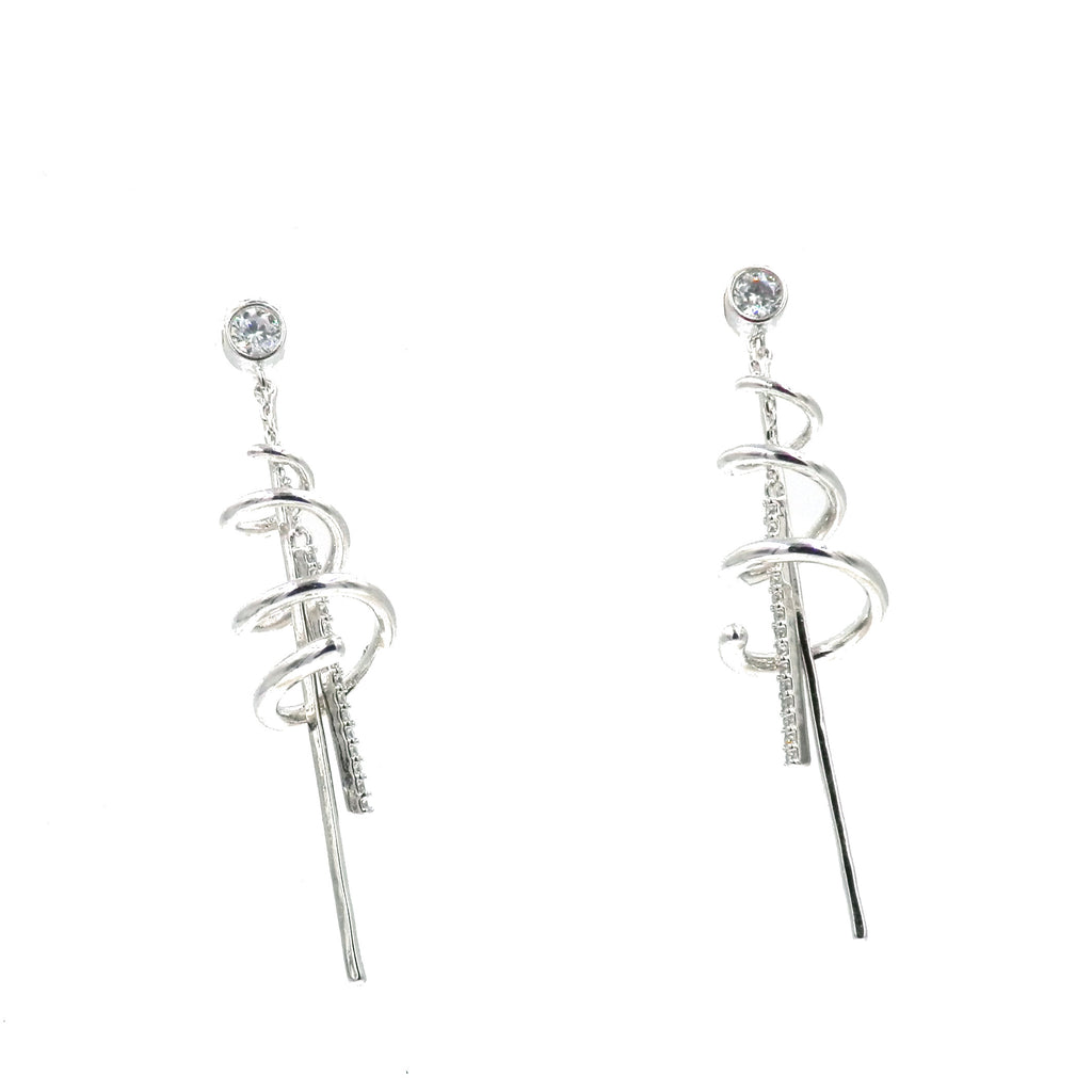 Rhodium Spiral Dangling Earrings
