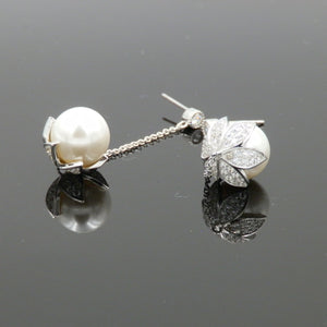 Rhodium CZ Leaves Wrapped Pearl Dangling Earrings