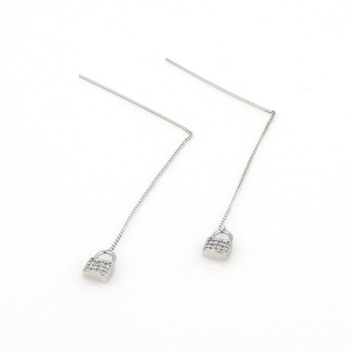 Rhodium Lock Threader Earrings
