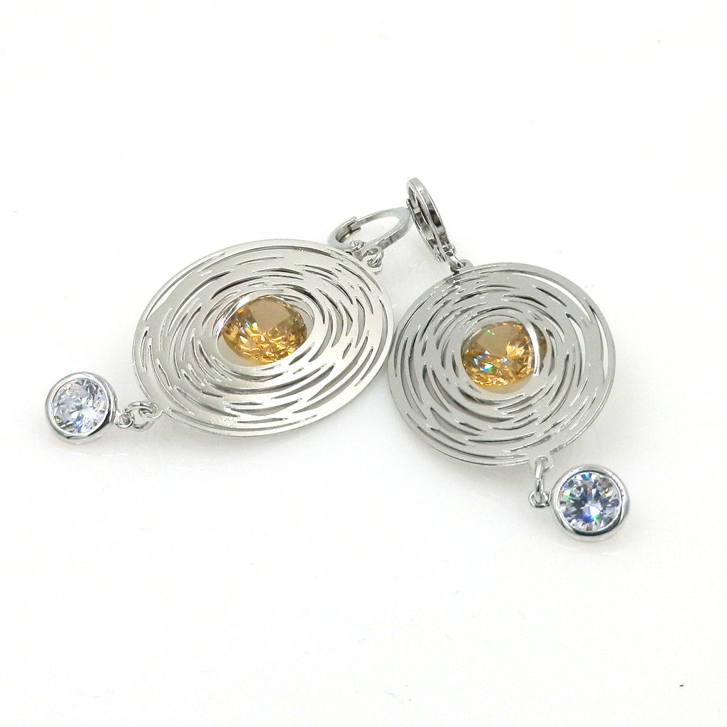 Rhodium Oval Maze Earrings