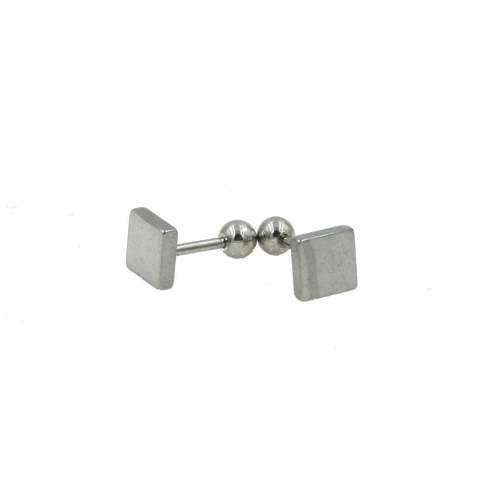 Stainless Steel Square Screw-on Earrings