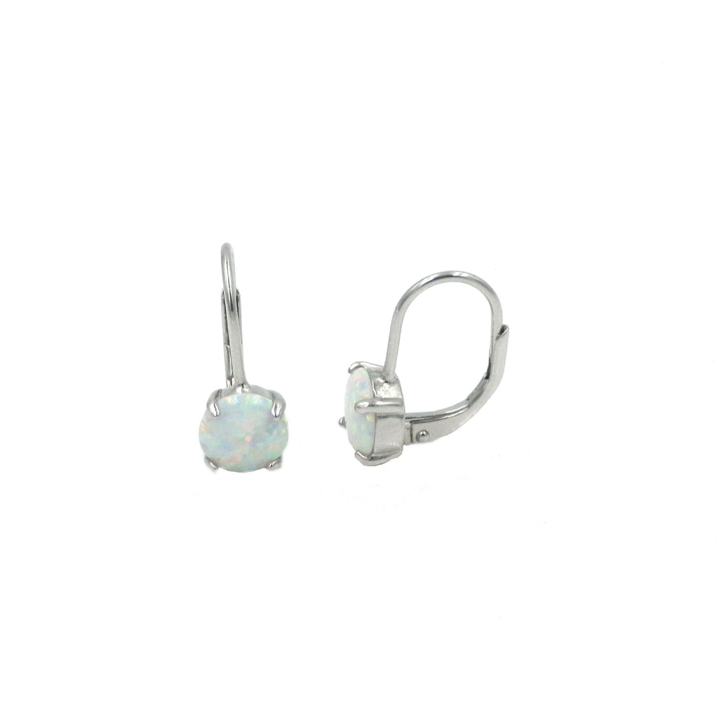 Opal Round Leverback Earrings