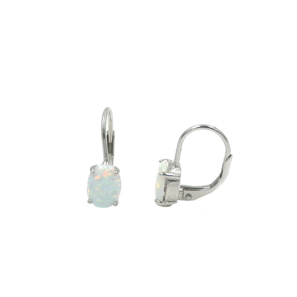 Opal Oval Leverback Earrings