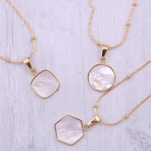 Geometric Shape Pearl Gold Plated Titanium Necklace