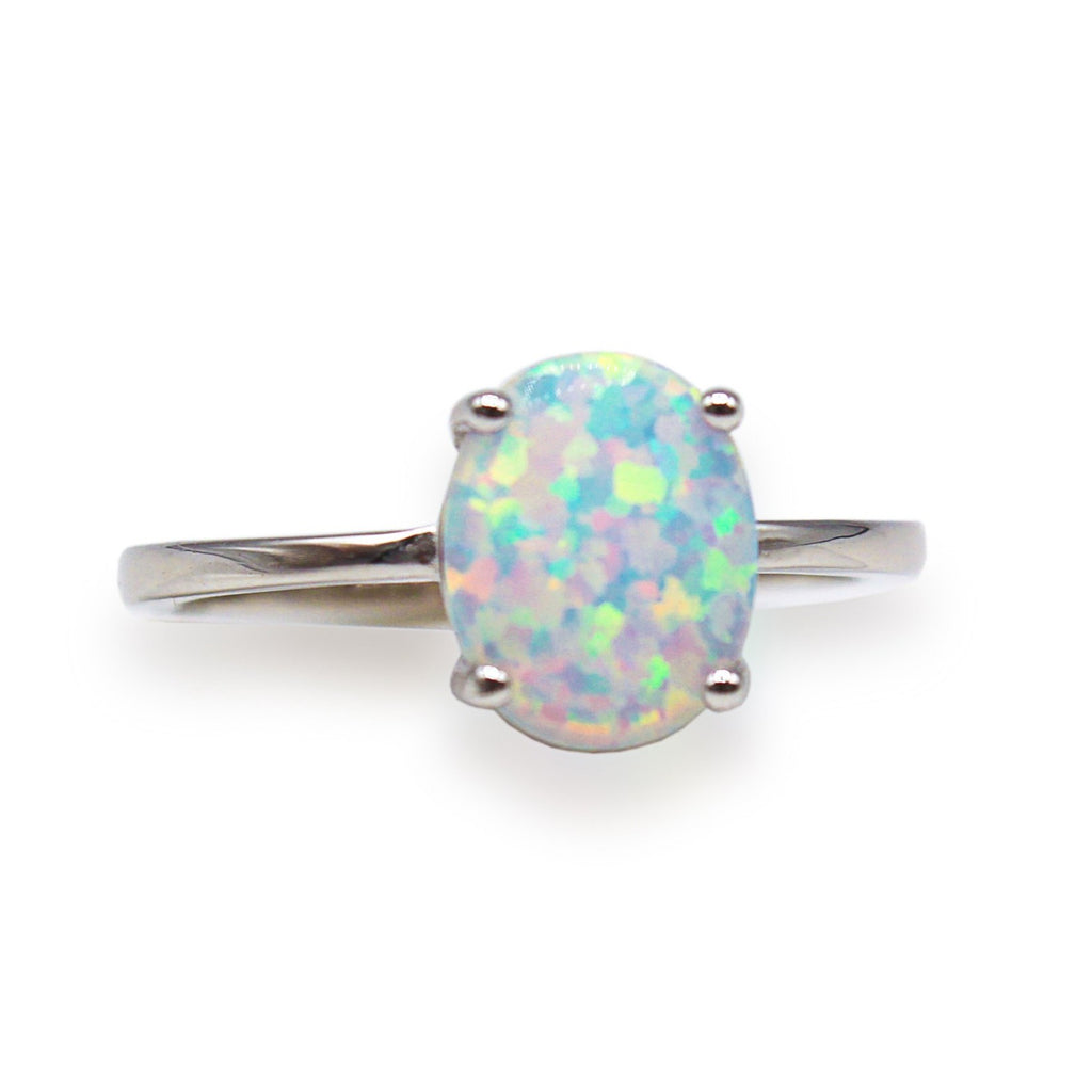 1 Carat Oval Opal Sterling Silver Ring