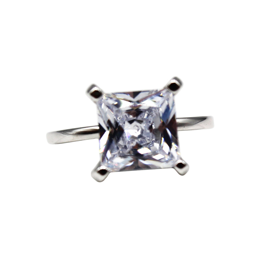 3 ct Cushion Cut Solitaire CZ Sterling Silver Ring