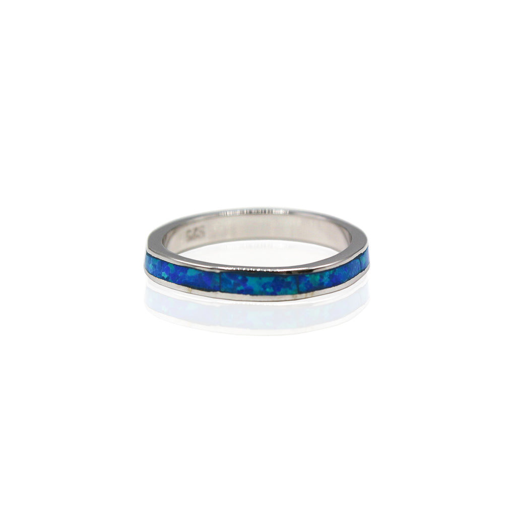 Opal Full Eternity Sterling Silver Band