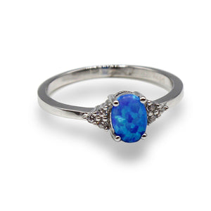 Oval Opal Ring with Trefoil Round Simulated Diamonds
