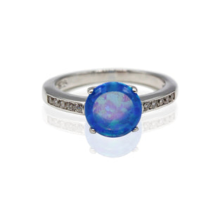 1.5 carat Round Opal with Basket Paved CZ Sterling Silver Ring