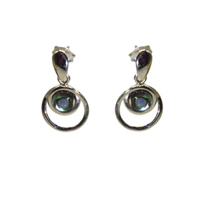 Double Loop Sterling Silver Dangling Earrings