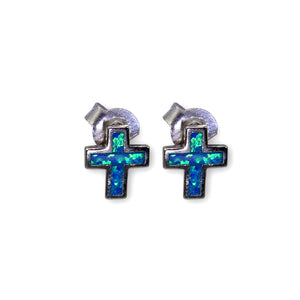 Solid Opal Cross Sterling Silver Post Earrings