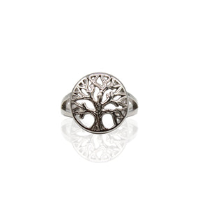 Plain Tree of Life Sterling Silver Ring
