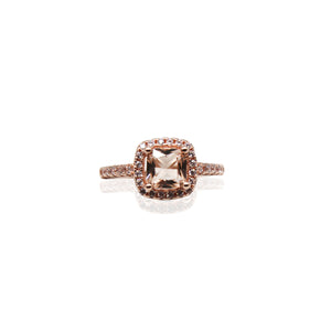 Morganite Cushion Cut Halo Paved CZ Rose Gold Plated Sterling Silver Ring
