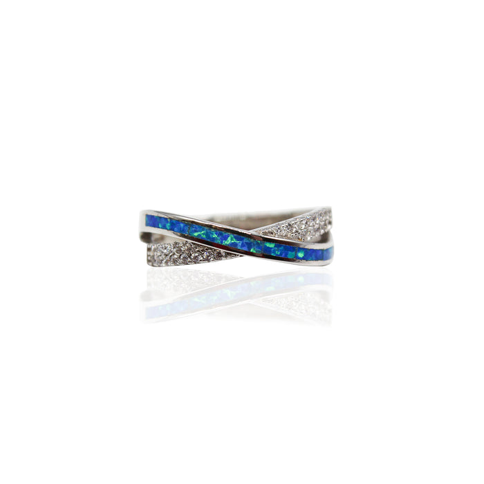 Criss-cross Opal With Paved CZ Sterling Silver Ring