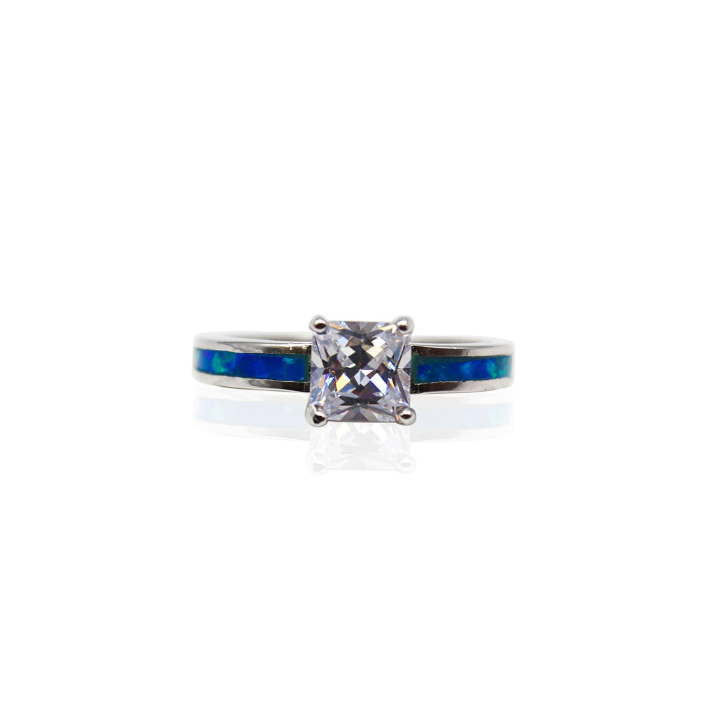 Square Solitaire CZ with Half Eternity Opal Sterling Silver Ring