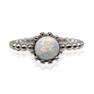 Round Opal, Crown Banded  Sterling Silver Ring