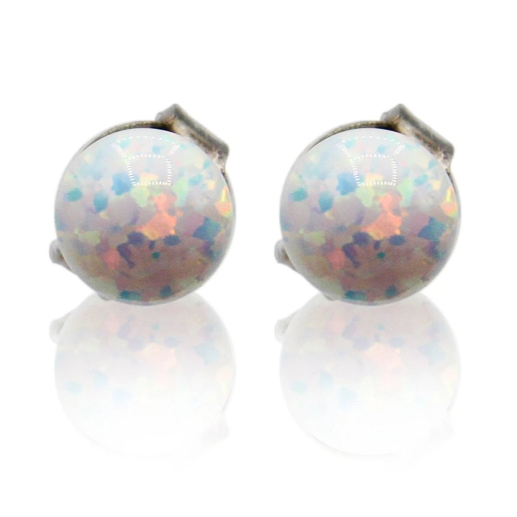 3mm Opal Sphere Sterling Silver Stud Earrings
