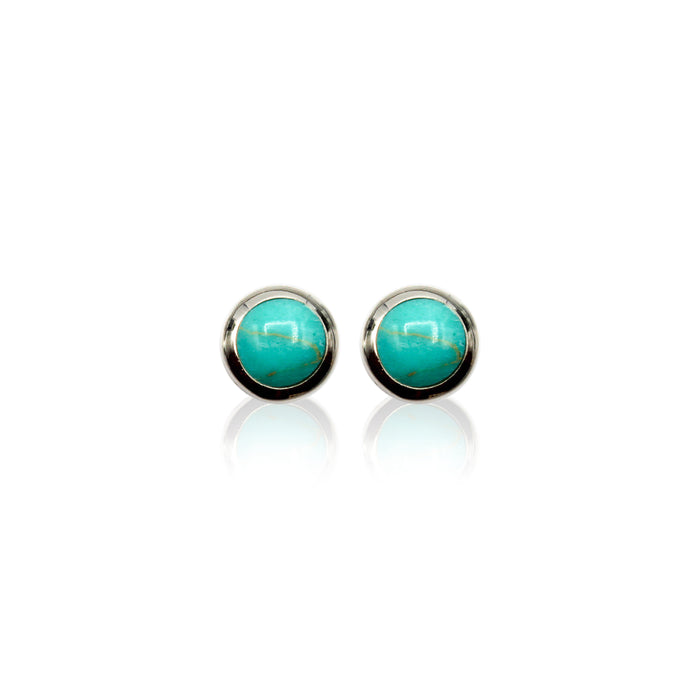 Round Bezel Sterling Silver Stud Earrings
