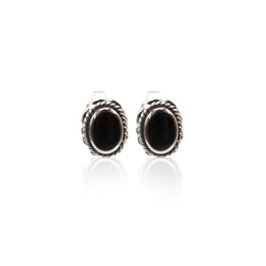 Oval Antique Sterling Silver Stud Earrings